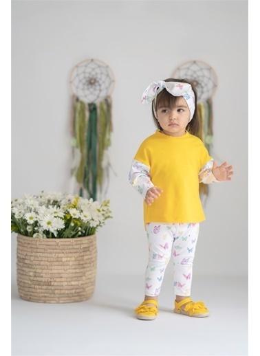 Nila Kids Butterfly Organik Kız Bebek Sweatshirt Sarı